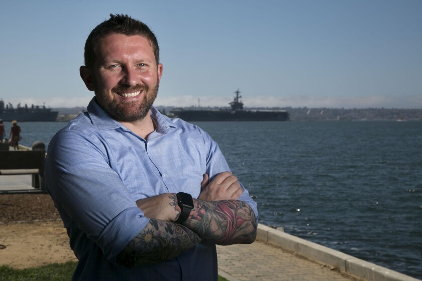 Veteran Shawn VanDiver is shown near the USS Midway on Tuesday, September 3, 2019 in San Diego California.
