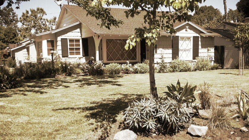 Andrew Epstein's Studio City ranch house before the lawn was removed.
