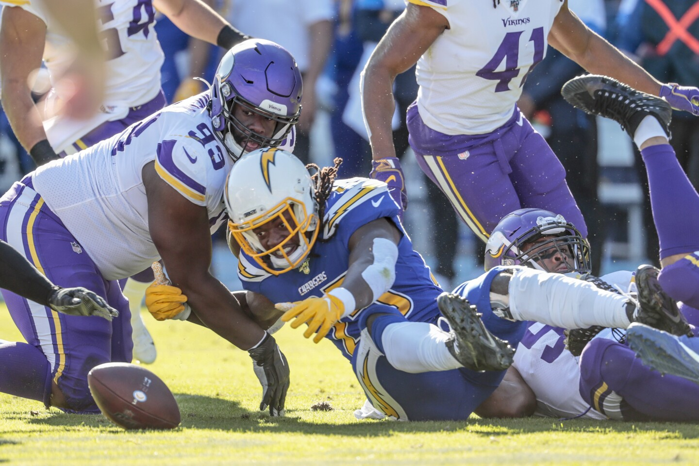 CARSON, CA, SUNDAY, DECEMBER 15, 2019 - Los Angeles Chargers running back Melvin Gordon (25) fumbles the ball during a first quarter drive against the Vikings at Dignity Health Sports Park. (Robert Gauthier/Los Angeles Times)