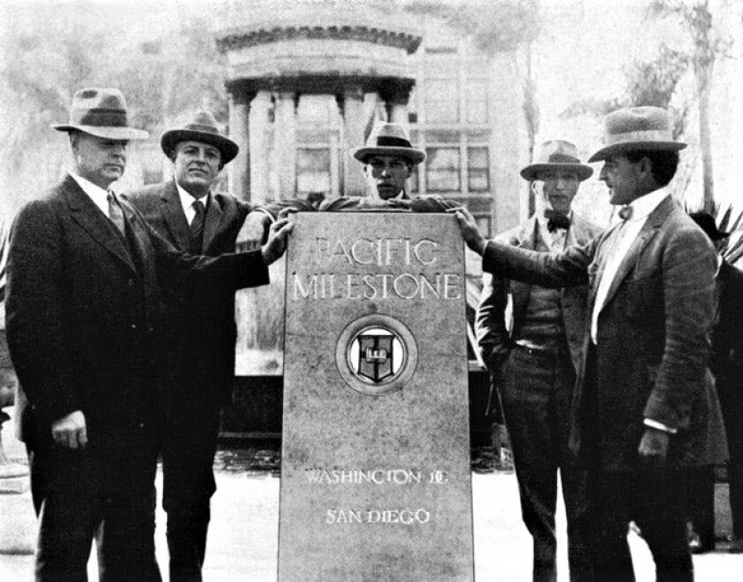 Col. Ed Fletcher, second from left,  with San Diego leaders at the Robert E. Lee Highway marker in Horton Plaza.