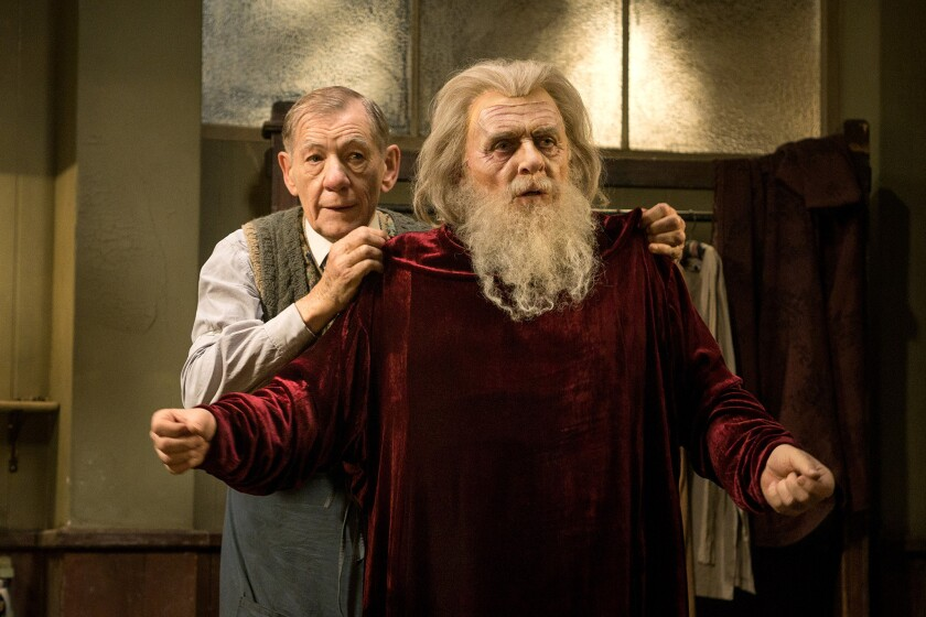 """Norman (Ian McKellen) and Sir (Anthony Hopkins) in a scene from """"The Dresser."""""""