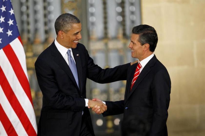 El presidente, Barack Obama con su homólogo mexicano, Enrique Peña Nieto.