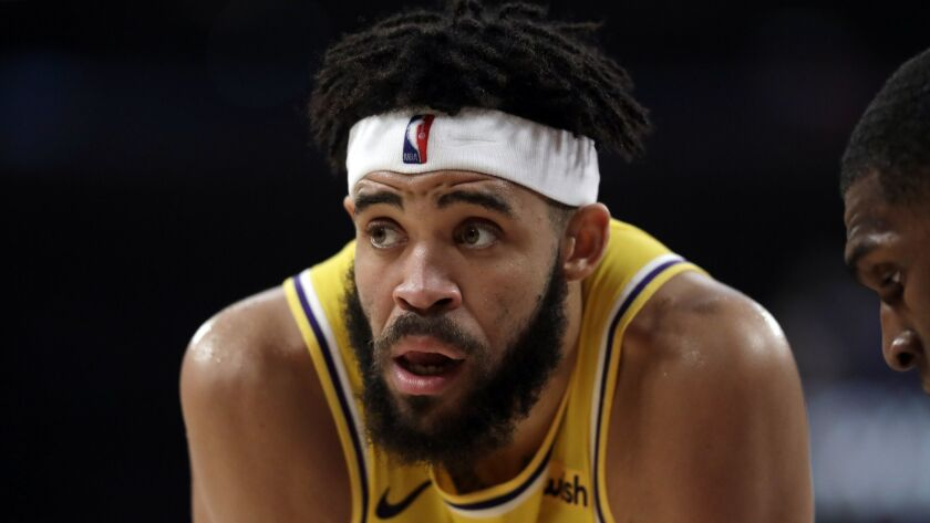 The Lakers' JaVale McGee is shown against the Warriors on April 4, 2019.