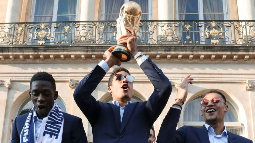 French team back to France after winning FIFA World Cup 2018, Paris - 16 Jul 2018