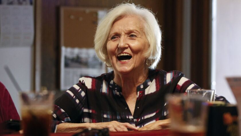RAMONA, October 4, 2018 | Carole Littlefield shares a laugh as she sits at the bar at VFW Post 3783