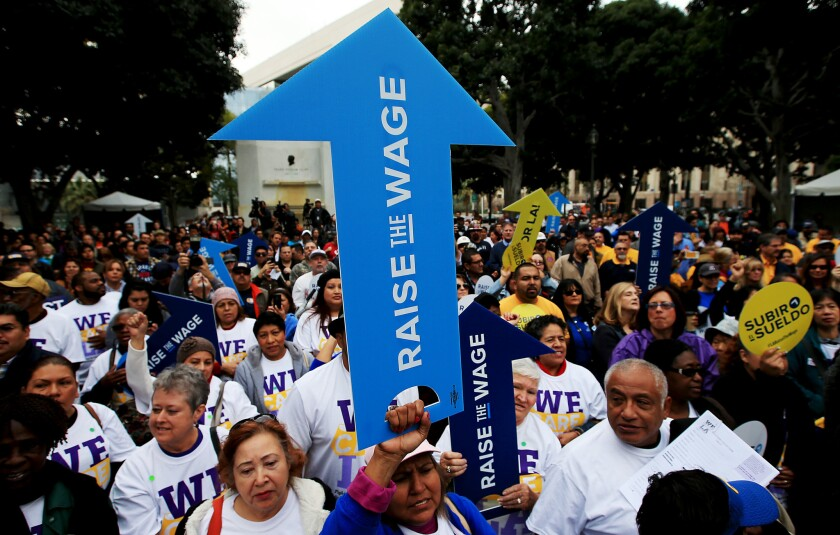 Workers rally for a higher minimum wage