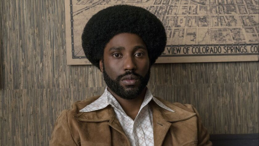 """This image released by Focus Features shows John David Washington in a scene from """"BlacKkKlansman."""""""