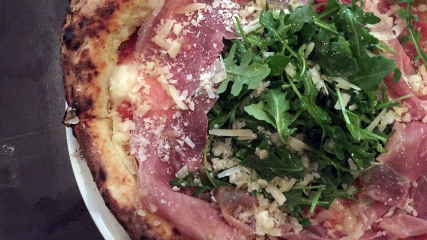The Sergio pizza at Buona Forchetta Encinitas. Named for owner Matteo Cattaneo's father, this traditional Neopolitan pizza features mozzarella cheese, arugula, prosciutto di Parma and Parmesan cheese.