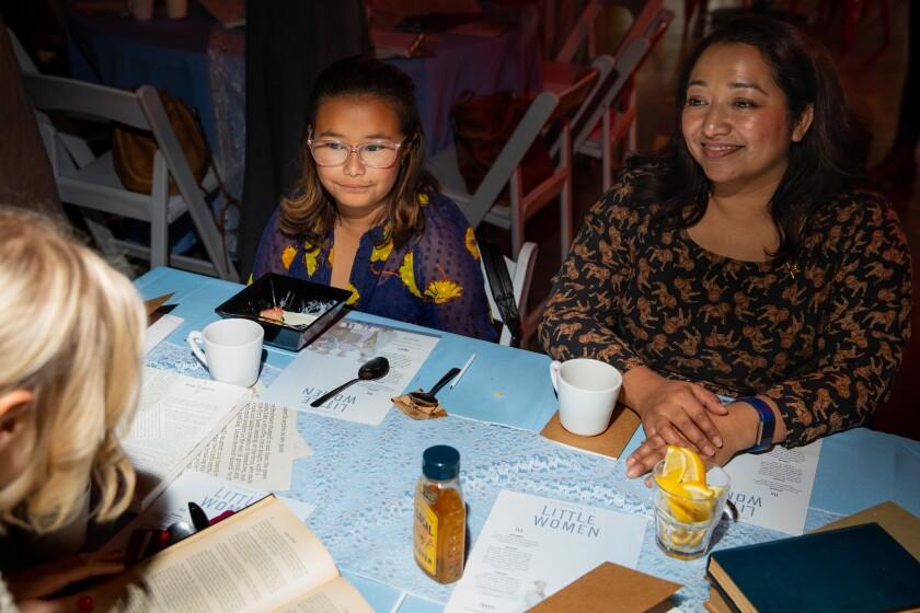 "Zoe Muñoz and mom Iriss Barriga attend the ""Little Women"" tea."