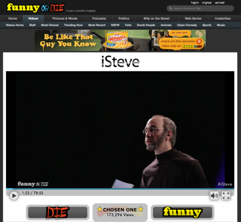 """Funny or Die's Steve Jobs biopic, """"iSteve,"""" is now online and viewable for free."""