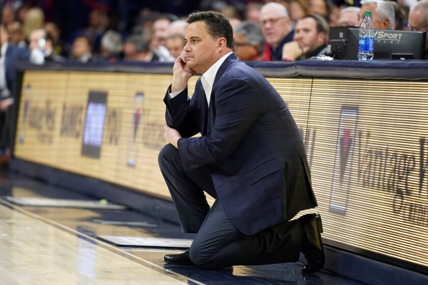 Arizona coach Sean Miller looks on during the first half of a game against USC on Feb. 6.