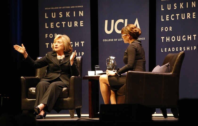 Former Secretary of State Hillary Rodham Clinton with moderator and political science professor Lynn Vavreck at UCLA on Wednesday.