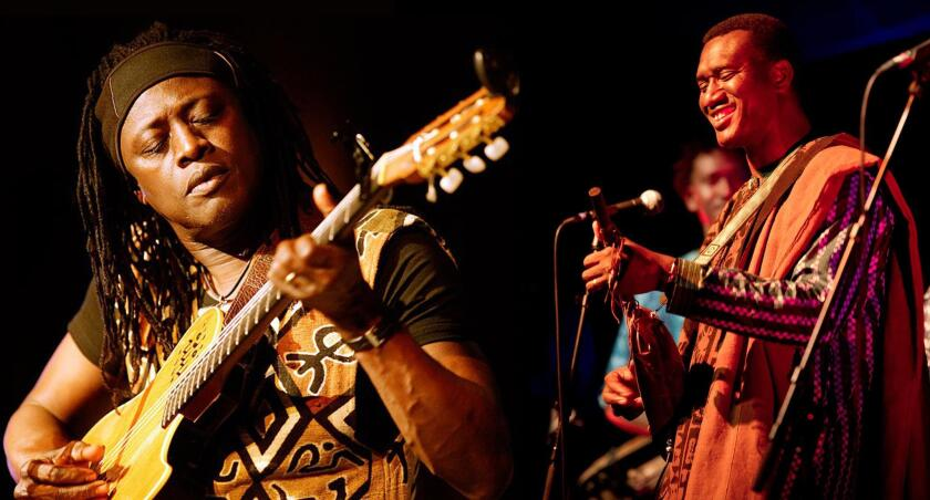 Afro-Pop icon Habib Koite and lute-master Bassekou Kouyate will combine ancient and modern Malian music in UCSD's Price Center East Ballroom Feb. 26, 2019.