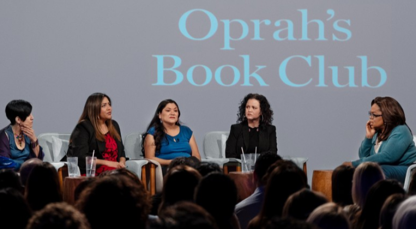 Oprah Winfrey with Jeanine Cummins, Esther J. Cepeda, from left, Julissa Arce and Reyna Grande