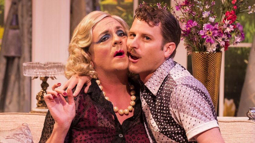 """L-R: Drew Droege and Andrew Carter in the Celebration Theatre production of """"Die, Mommie, Die!"""" at t"""