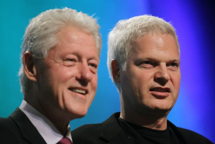Former U.S. President Bill Clinton with Hollywood mogul Steve Bing at the 2010 Clinton Global Initiative.