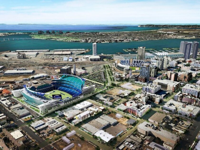 Current proposal for a new Chargers Stadium near Petco Park in downtown San Diego.
