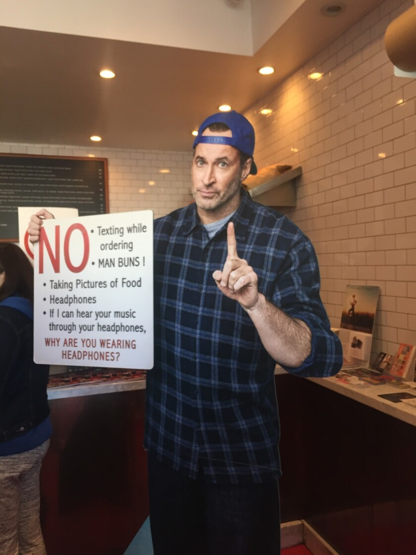 A cardboard cutout of resident grump Luke (Scott Patterson) added to the authenticity of the faux Luke's Diner decor.