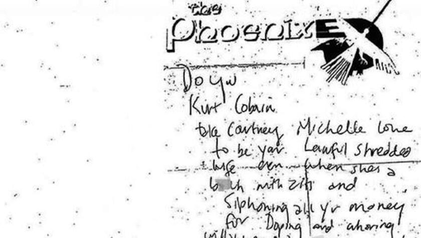 The Seattle Police Department has released this image of a new note found at Kurt Cobain's suicide scene released.