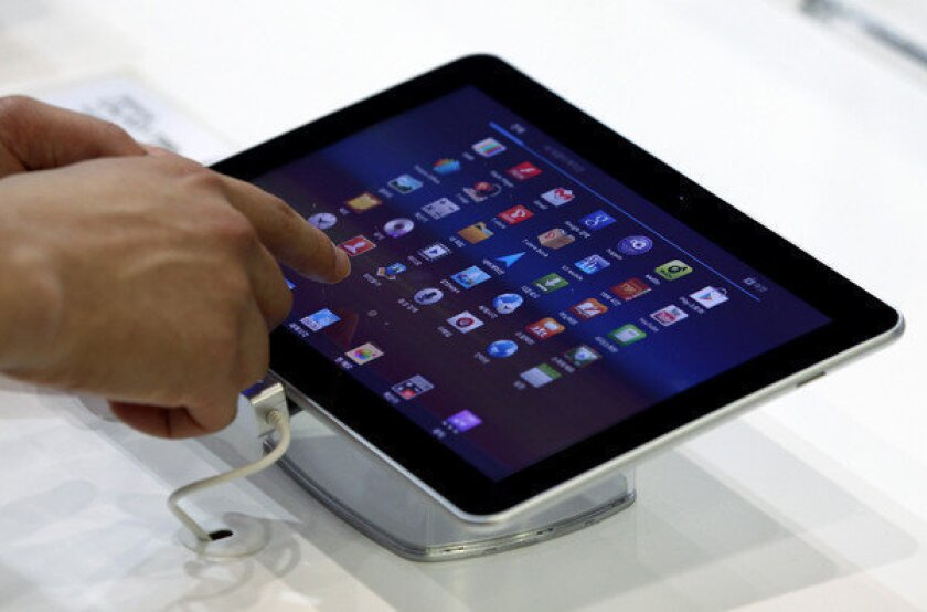 A Samsung Galaxy Tab 10.1 at the World IT Show 2012 in South Korea.