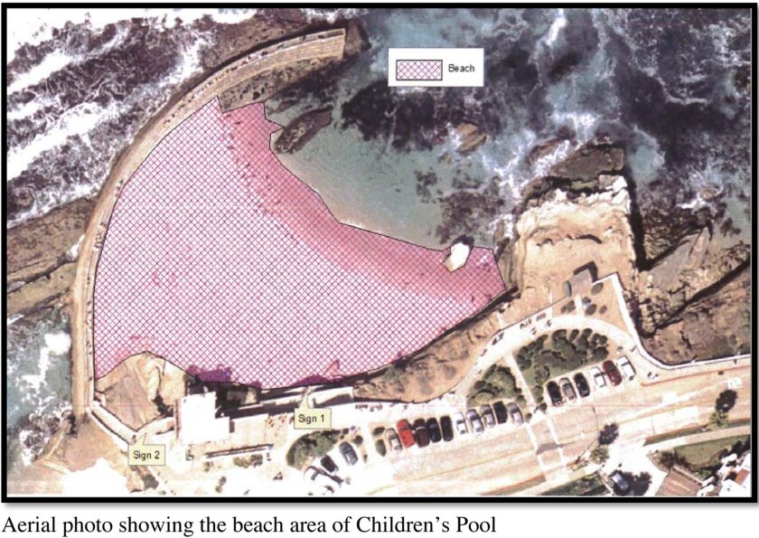 Aerial photo showing the beach (in pink) at Children's Pool in La Jolla.