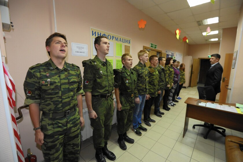 "Members of Our Army, a club in Moscow that is one of thousands of ""military-patriotic youth organizations"" answering President Vladimir Putin's call for preparing the next generation of Russian soldiers."