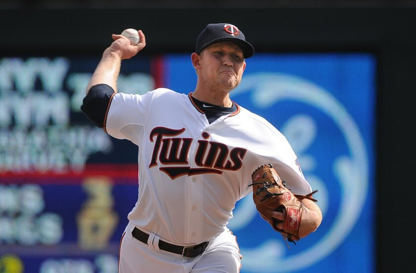 Minnesota Twins starter Tyler Duffey delivers against the Los Angeles Angels in the first inning of a baseball game, Sunday Sept. 20, 2015, in Minneapolis. (AP Photo/Richard Marshall)