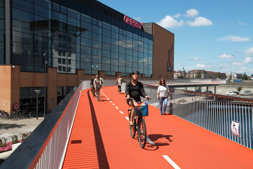 Cykelslangen, the Bicycle Tube or Snake, is a bicycle and pedestrian bridge from Dybbolsbro to Bryggebroen in Copenhagen.