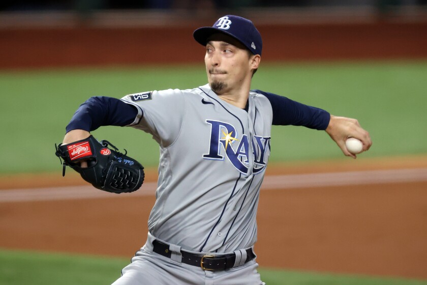Pitcher Blake Snell on the mound