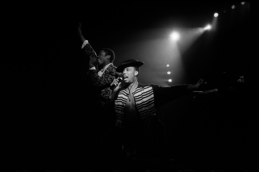 "Whodini's John ""Ecstasy"" Fletcher, center, performing at the Hammersmith Odeon in London in 1986."