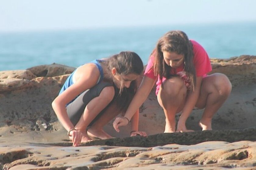 Two girls enjoy the sun and surf on Sunday at Torrey Pines State Reserve.