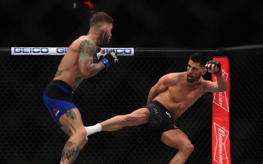 Dominick Cruz kicks Cody Garbrand during their UFC bantamweight title fight at UFC 207.