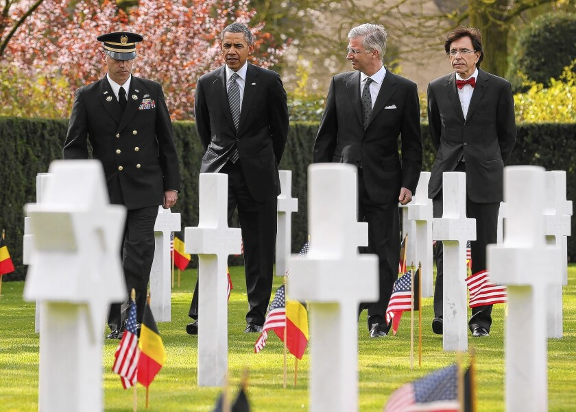 President Obama visits cemetery in Belgium for World War I soldiers