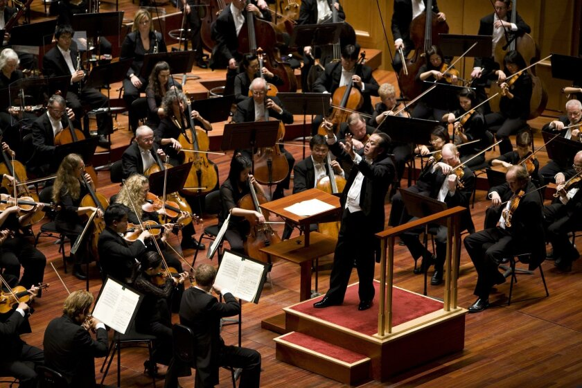 MUSIC-  Music director Jahja Ling leads the San Diego Symphony on stage at Copley Symphony Hall.   Photo credit:  David Hartig