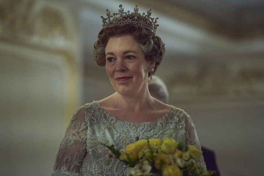 "Olivia Colman as Queen Elizabeth II in ""The Crown."""