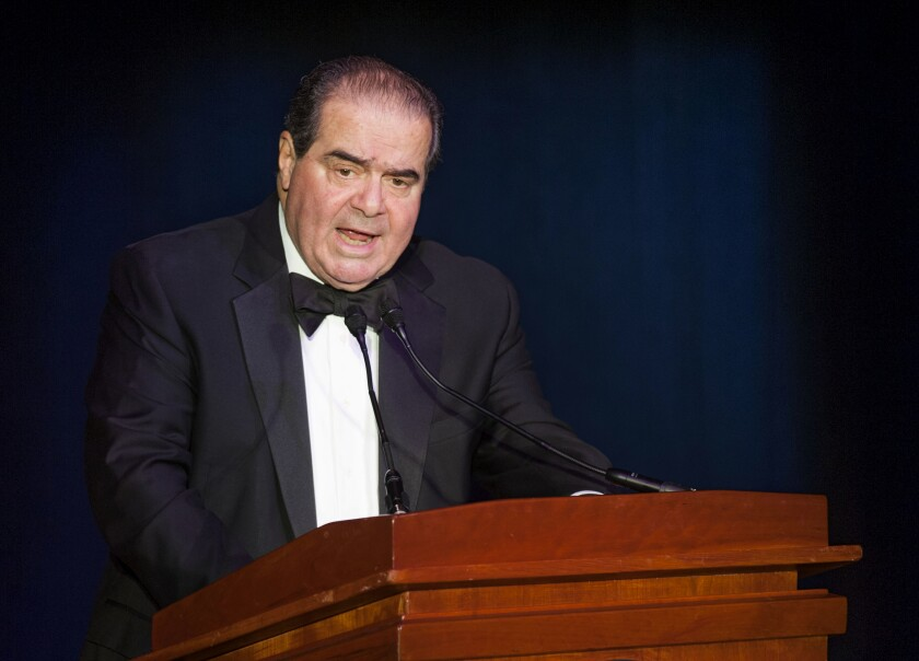 Supreme Court Justice Antonin Scalia speaks in Washington on Nov. 6, 2014.