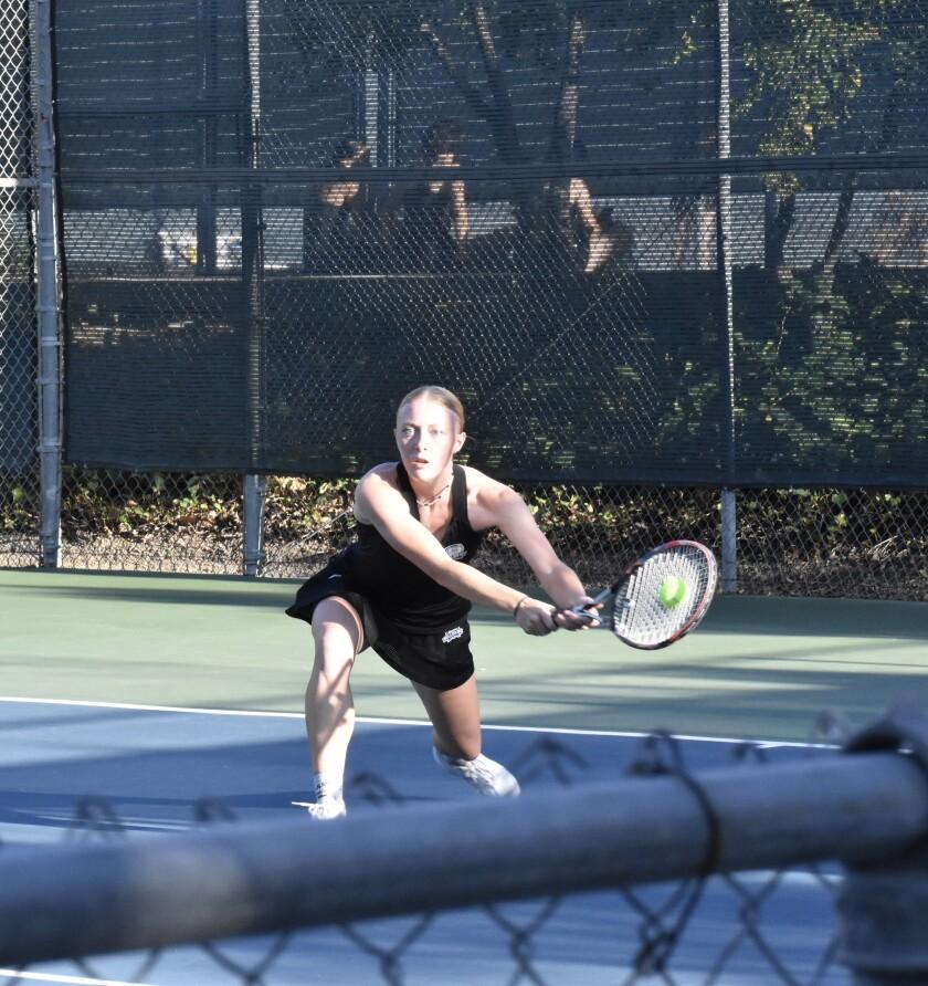 Amanda Barrett, Ramona's #1 singles player for girls tennis, at the Sept. 2 match against Carlsbad.