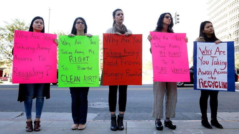 LOS ANGELES, CA-JANUARY 18, 2018: People protest during a press conference given by opponents of the