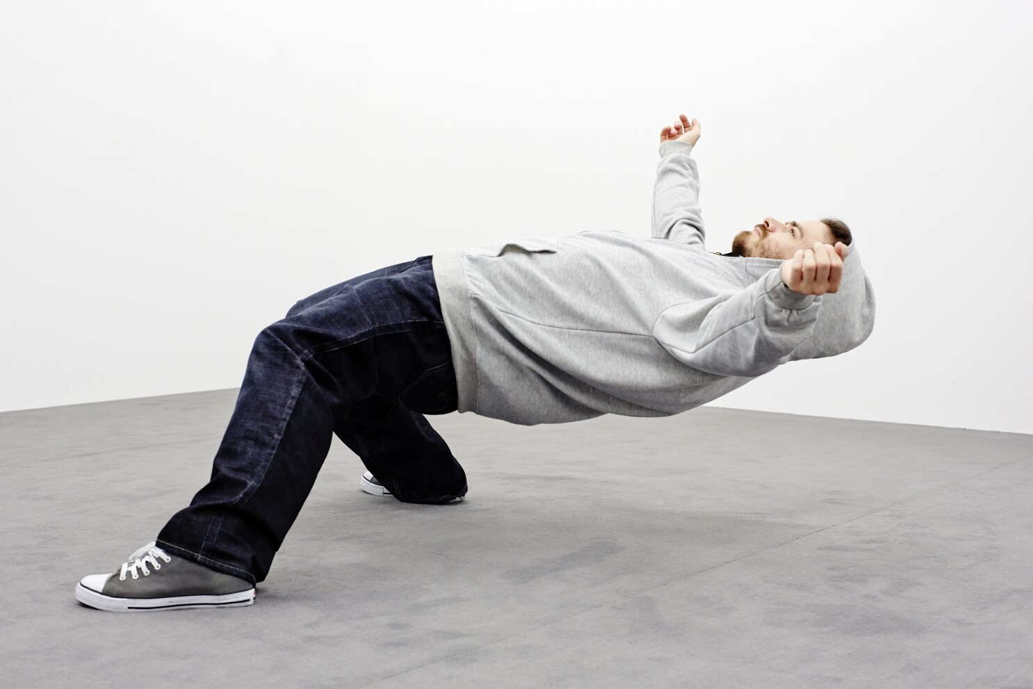 Why is this man suspended midair at MOCA? And how?