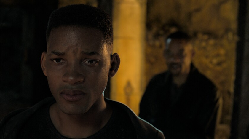 "A younger, visual effects-enhanced Will Smith and Will Smith in ""Gemini Man"""