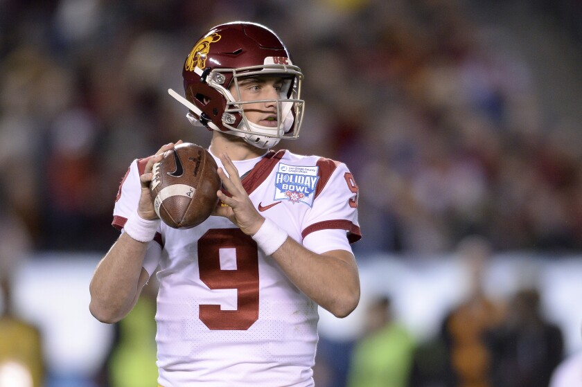 USC quarterback Kedon Slovis looks to pass during the first half of the Holiday Bowl against Iowa on Dec. 27.