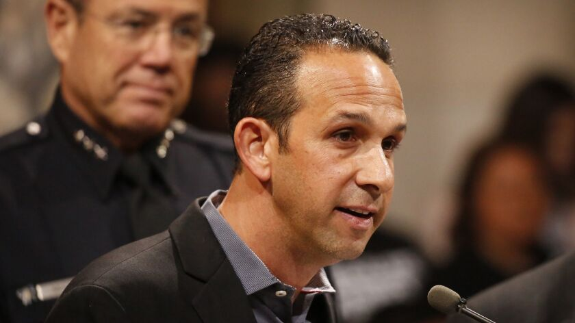 Los Angeles City Councilman Mitchell Englander speaks during a council meeting in April.