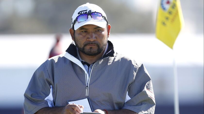 José de Jesús Rodríguez plays a practice round for the Farmers Insurance Open on Tuesday at Torrey Pines.