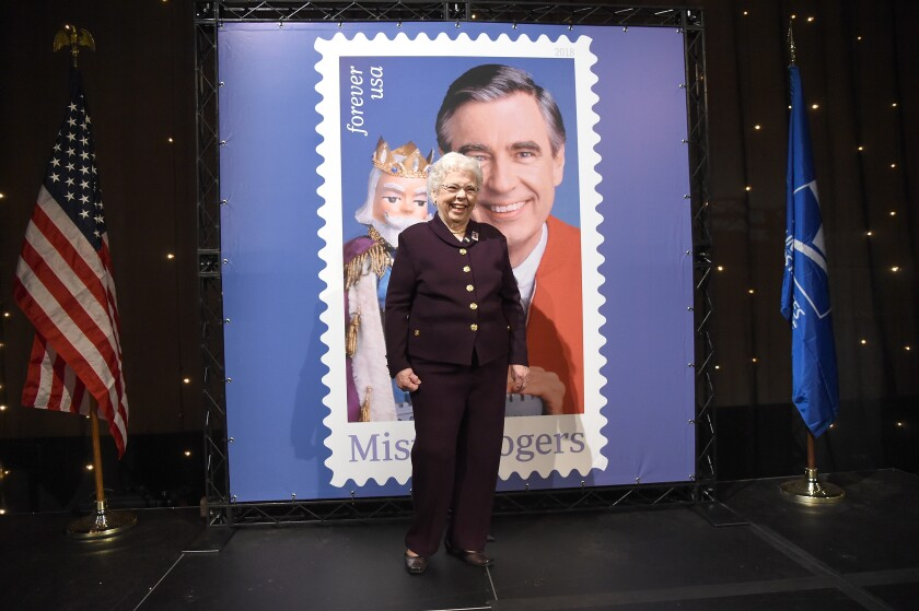 Joanne Rogers attends the U.S. Postal Service dedication of the Mister Rogers Forever Stamp