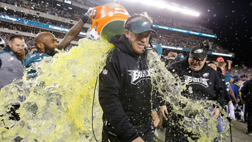 Philadelphia Eagles head coach Doug Pederson gets the Gatorade bath late in the fourth quarter against the Minnesota Vikings during the NFC Championship game.