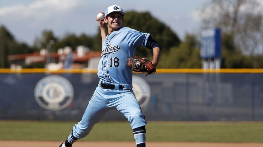 Corona del Mar High starter Jarrett Thompson pitches against Marina during the first inning in a Wav
