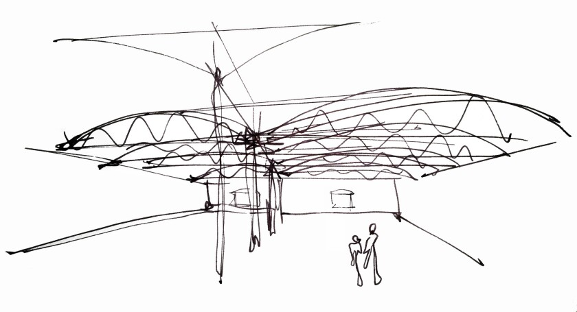 An early sketch of plans for the Institute of Contemporary Art, Los Angeles
