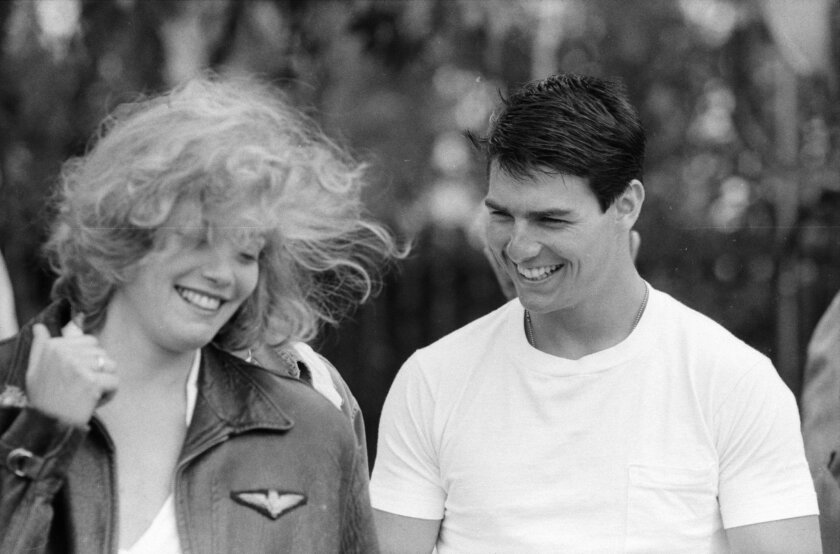 "Tom Cruise and Kelly McGillis in Oceanside for the filming of the 1986 movie, ""Top Gun."" Courtesy Photo: Oceanside Historical Society."