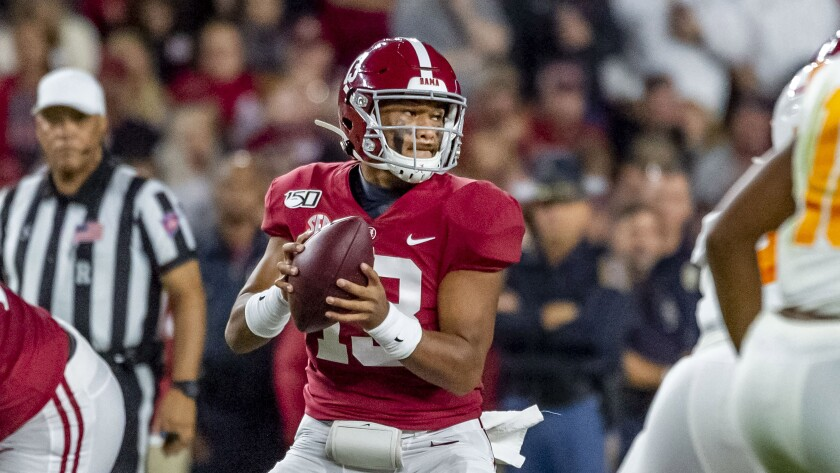 Oddsmakers and bettors will be monitoring health reports on Alabama quarterback Tua Tagovailoa all week ahead of the No. 2 Crimson Tide's game against No. 1 Louisiana State.