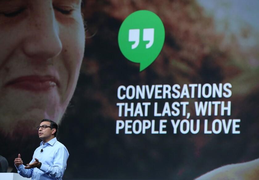 Vic Gundotra, Google senior vice president of engineering, announces Hangouts for Google+.